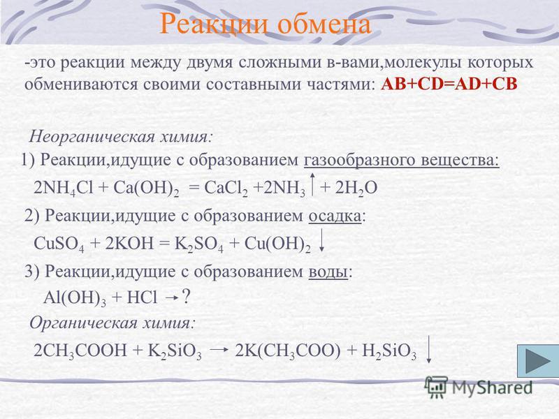 Реакции обмена -это реакции между двумя сложными в-вами,молекулы которых обмениваются своими составными частями: AB+CD=AD+CB Неорганическая химия: 1) Реакции,идущие с образованием газообразного вещества: 2NH 4 Cl + Ca(OH) 2 = CaCl 2 +2NH 3 + 2H 2 O 2