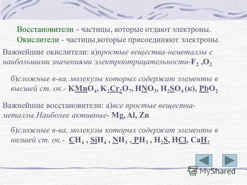 Восстановители - частицы, которые отдают электроны. Окислители - частицы,которые присоединяют электроны. Важнейшие окислители: а)простые вещества-неметаллы с наибольшими значениями электроотрицательности-F 2,O 2 б)сложные в-ва, молекулы которых содер