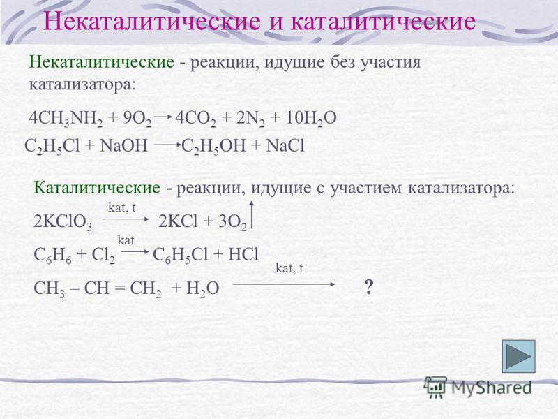 Некаталитические и каталитические Некаталитические - реакции, идущие без участия катализатора: 4CH 3 NH 2 + 9O 2 4CO 2 + 2N 2 + 10H 2 O C 2 H 5 Cl + NaOH C 2 H 5 OH + NaCl Каталитические - реакции, идущие с участием катализатора: 2KClO 3 2KCl + 3O 2