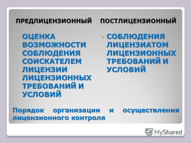 Порядок организации и осуществления лицензионного контроля ПРЕДЛИЦЕНЗИОННЫЙПОСТЛИЦЕНЗИОННЫЙ ОЦЕНКА ВОЗМОЖНОСТИ СОБЛЮДЕНИЯ СОИСКАТЕЛЕМ ЛИЦЕНЗИИ ЛИЦЕНЗИОННЫХ ТРЕБОВАНИЙ И УСЛОВИЙ ОЦЕНКА ВОЗМОЖНОСТИ СОБЛЮДЕНИЯ СОИСКАТЕЛЕМ ЛИЦЕНЗИИ ЛИЦЕНЗИОННЫХ ТРЕБОВАНИ