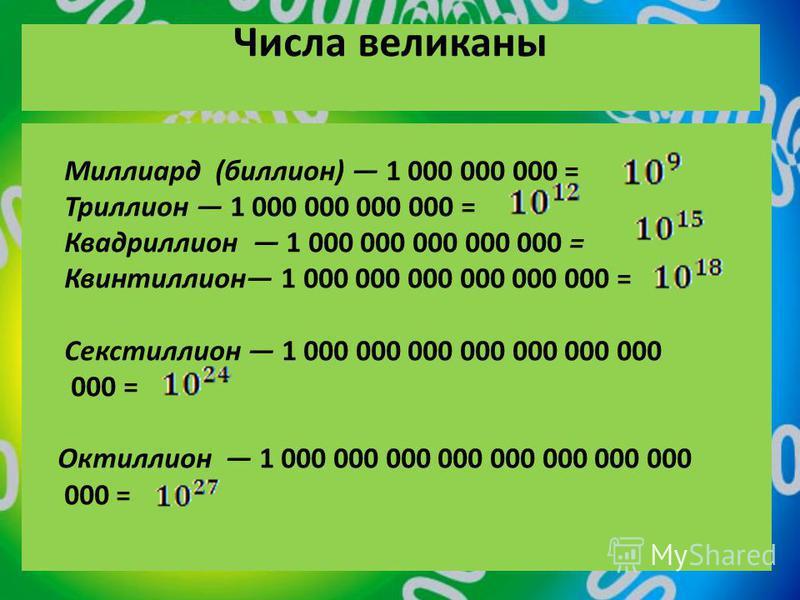 Числа великаны Миллиард (биллион) 1 000 000 000 = Триллион 1 000 000 000 000 = Квадриллион 1 000 000 000 000 000 = Квинтиллион 1 000 000 000 000 000 000 = Секстиллион 1 000 000 000 000 000 000 000 000 = Октиллион 1 000 000 000 000 000 000 000 000 000