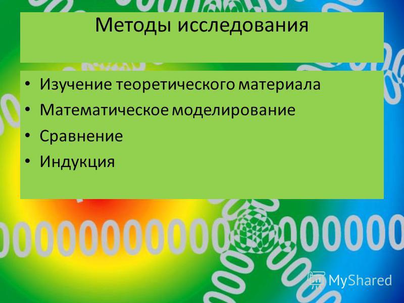 Методы исследования Изучение теоретического материала Математическое моделирование Сравнение Индукция