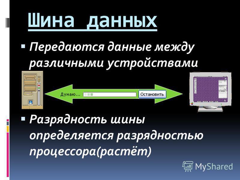 Шина данных Передаются данные между различными устройствами Разрядность шины определяется разрядностью процессора(растёт)
