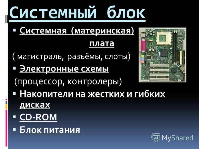 Системный блок Системная (материнская) плата ( магистраль, разъёмы, слоты ) Электронные схемы (процессор, контролеры) Накопители на жестких и гибких дисках CD-ROM Блок питания