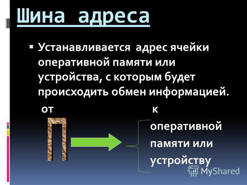 Шина адреса Устанавливается адрес ячейки оперативной памяти или устройства, с которым будет происходить обмен информацией. от к оперативной памяти или устройству