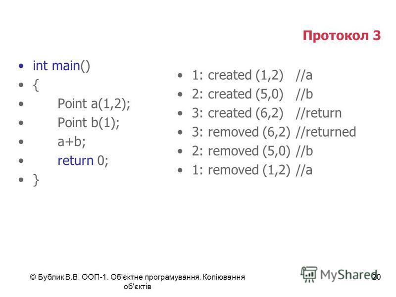© Бублик В.В. ООП-1. Об'єктне програмування. Копіювання об'єктів 20 Протокол 3 int main() { Point a(1,2); Point b(1); a+b; return 0; } 1: created (1,2)//a 2: created (5,0)//b 3: created (6,2)//return 3: removed (6,2)//returned 2: removed (5,0)//b 1: