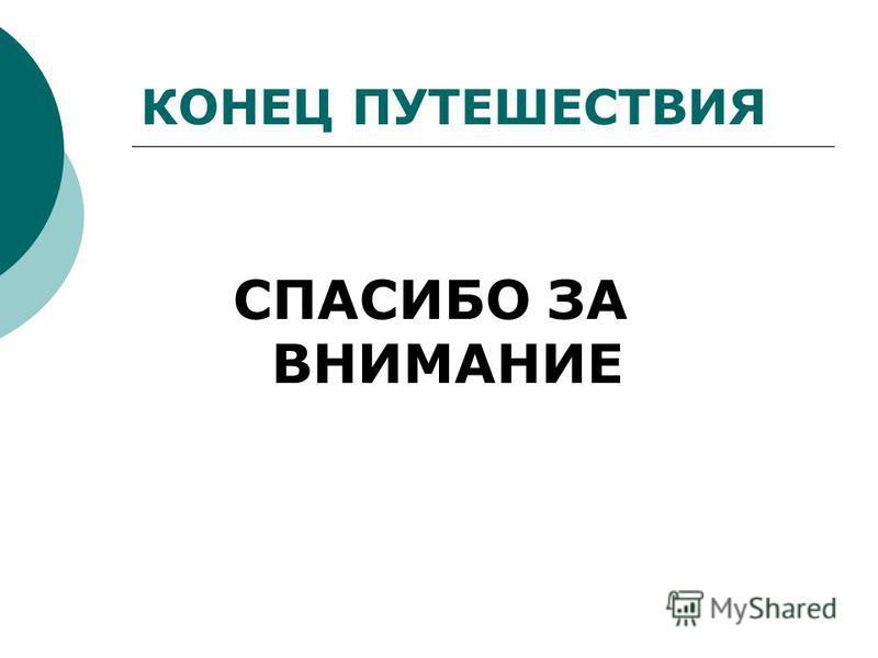 КОНЕЦ ПУТЕШЕСТВИЯ СПАСИБО ЗА ВНИМАНИЕ