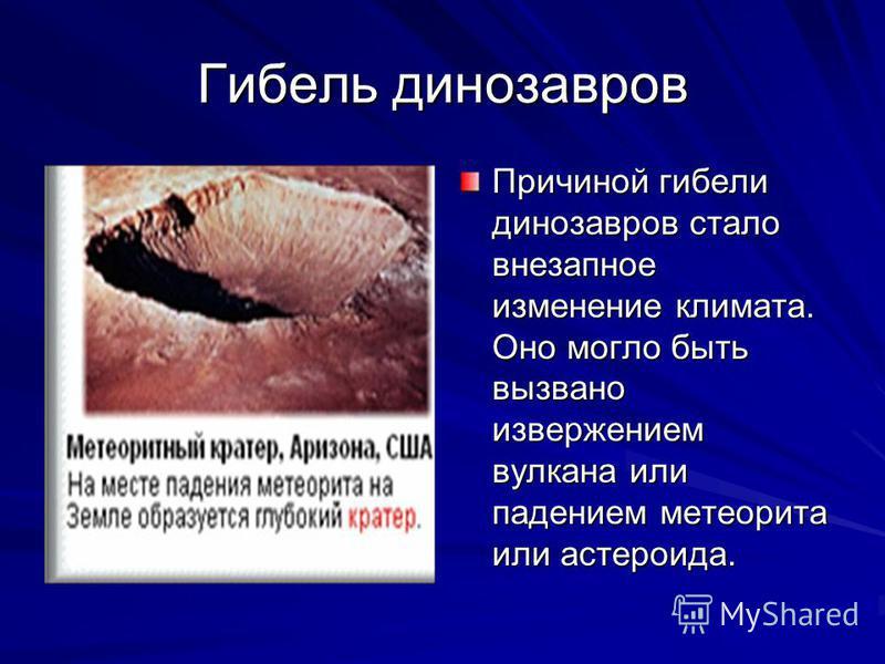 Гибель динозавров Причиной гибели динозавров стало внезапное изменение климата. Оно могло быть вызвано извержением вулкана или падением метеорита или астероида.