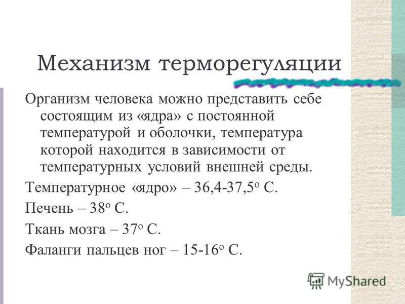 Механизм терморегуляции Организм человека можно представить себе состоящим из «ядра» с постоянной температурой и оболочки, температура которой находится в зависимости от температурных условий внешней среды. Температурное «ядро» – 36,4-37,5 о С. Печен