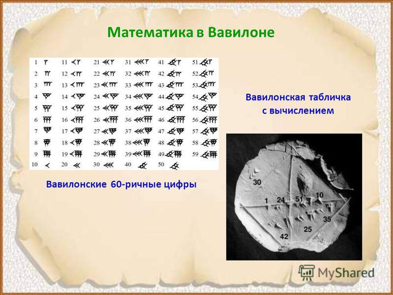 Математика в Вавилоне Вавилонские 60-ричные цифры Вавилонская табличка с вычислением