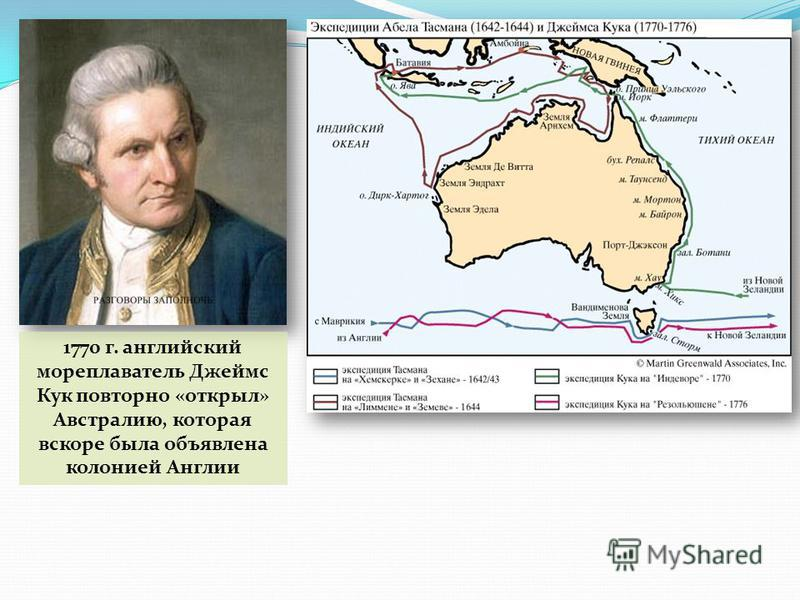1770 г. английский мореплаватель Джеймс Кук повторно «открыл» Австралию, которая вскоре была объявлена колонией Англии