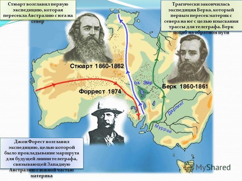 Стюарт возглавил первую экспедицию, которая пересекла Австралию с юга на север Джон Форест возглавил экспедицию, целью которой было прокладывание маршрута для будущей линии телеграфа, связывающей Западную Австралию с южной частью материка Трагически
