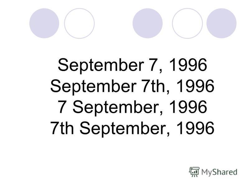 September 7, 1996 September 7th, 1996 7 September, 1996 7th September, 1996