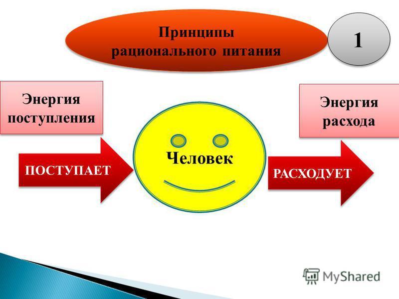 Принципы рационального питания Человек Энергия поступления Энергия расхода ПОСТУПАЕТ РАСХОДУЕТ 1 1