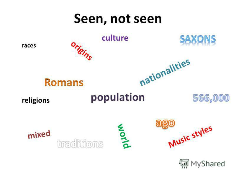 Seen, not seen races origins population nationalities mixed world Music styles religions culture