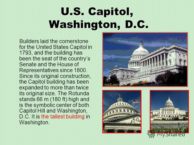 U.S. Capitol, Washington, D.C. Builders laid the cornerstone for the United States Capitol in 1793, and the building has been the seat of the countrys Senate and the House of Representatives since 1800. Since its original construction, the Capitol bu