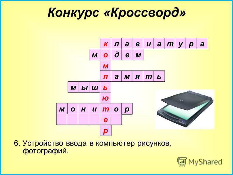 5. Устройство вывода информации на экран. клавиатура модем м память мышь ю т е р Конкурс «Кроссворд»