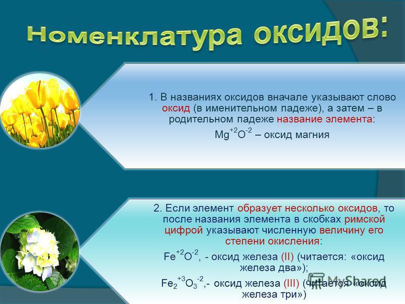 1. В названиях оксидов вначале указывают слово оксид (в именительном падеже), а затем – в родительном падеже название элемента: Mg +2 O -2 – оксид магния 2. Если элемент образует несколько оксидов, то после названия элемента в скобках римской цифрой