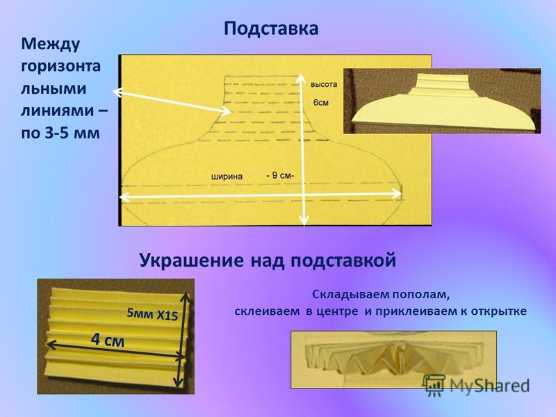 Между горизонтальными линиями – по 3-5 мм Подставка Украшение над подставкой 4 см 5 мм Х15 Складываем пополам, склеиваем в центре и приклеиваем к открытке