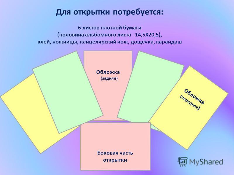 Для открытки потребуется: 6 листов плотной бумаги (половина альбомного листа 14,5Х20,5), клей, ножницы, канцелярский нож, дощечка, карандаш Обложка (задняя) Обложка (передняя ) Боковая часть открытки