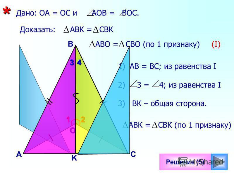 1 Решение (5) B С О K Дано: ОА = ОС и АОВ = ВОС.* А Доказать: АВК = CBК2 АВО = CBО (по 1 признаку) (I) 1)АВ = ВС; из равенства I 2) 3 = 4; из равенства I 3) ВК – общая сторона. АВК = CBК (по 1 признаку) 34