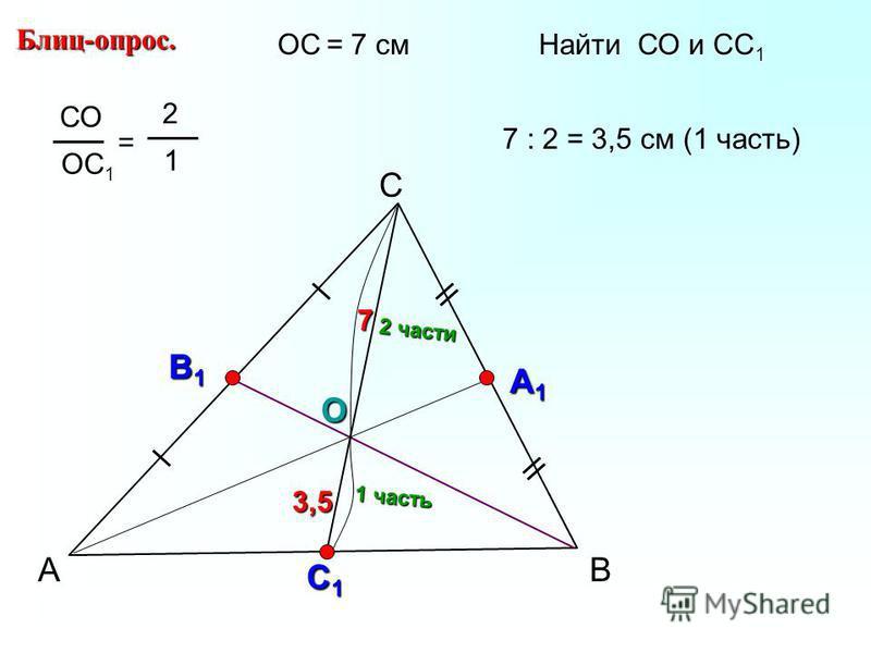А С В Блиц-опрос. В1В1В1В1 А1А1А1А1 О СО ОС 1 = 2 1 С1С1С1С1 ОС = 7 см Найти СО и СС 1 2 части 1 часть 7 : 2 = 3,5 см (1 часть) 3,5 7