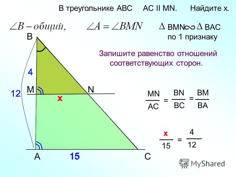 4 х A B N В треугольнике АВС AC II MN. Найдите x. Запишите равенство отношений соответствующих сторон. BMN BAC по 1 признаку C MN AC = BN BC BM BA = М 15 12 4 1515 х х х 1515 = 4