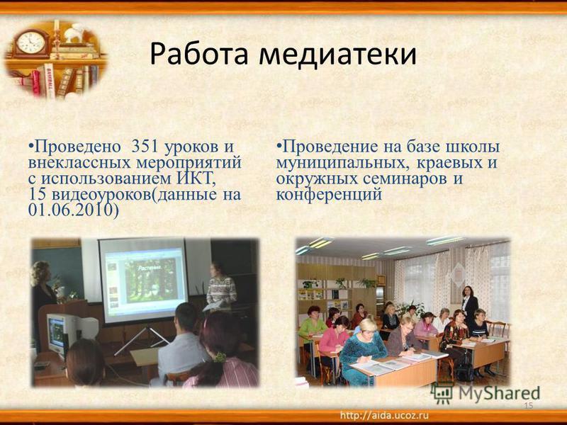 Работа медиатеки 15 Проведение на базе школы муниципальных, краевых и окружных семинаров и конференций Проведено 351 уроков и внеклассных мероприятий с использованием ИКТ, 15 видеоуроков(данные на 01.06.2010)