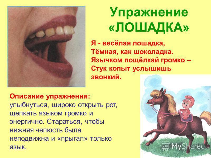 Упражнение «ЛОШАДКА» Описание упражнения: улыбнуться, широко открыть рот, щелкать языком громко и энергично. Стараться, чтобы нижняя челюсть была неподвижна и «прыгал» только язык. Я - весёлая лошадка, Тёмная, как шоколадка. Язычком пощёлкай громко –