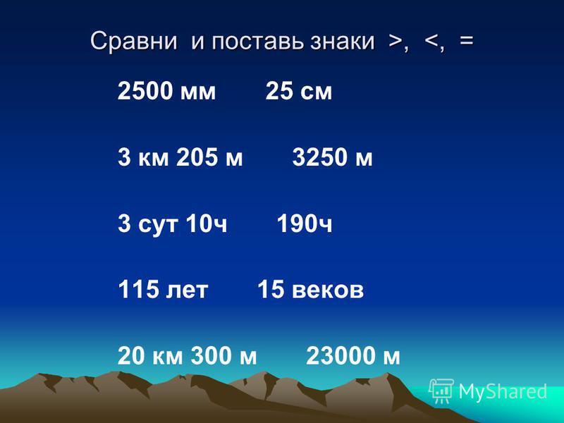Сравни и поставь знаки >,, <, = 2500 мм 25 см 3 км 205 м 3250 м 3 сут 10 ч 190 ч 115 лет 15 веков 20 км 300 м 23000 м
