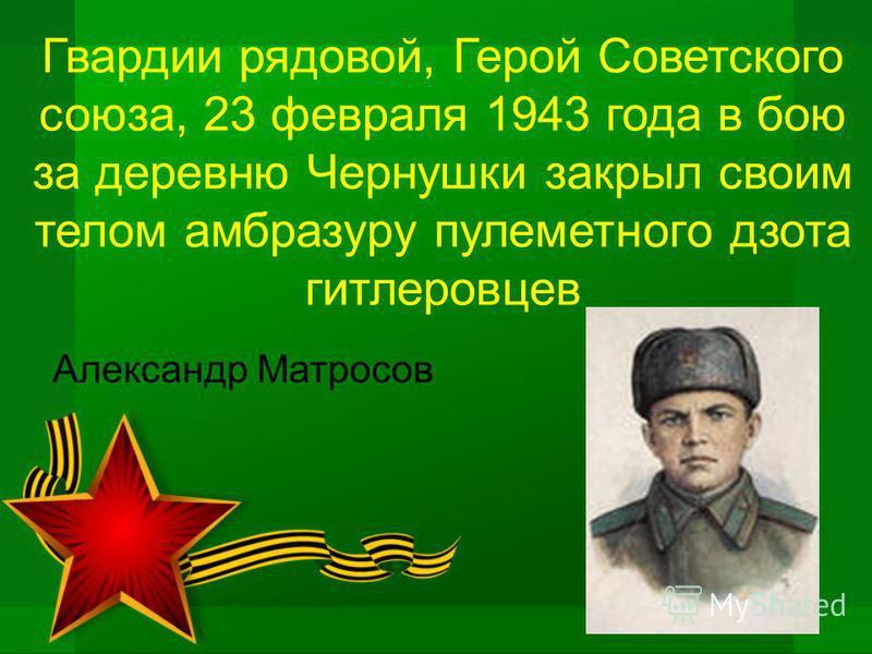 Гвардии рядовой, Герой Советского союза, 23 февраля 1943 года в бою за деревню Чернушки закрыл своим телом амбразуру пулеметного дзота гитлеровцев Александр Матросов
