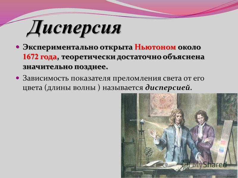 Экспериментально открыта Ньютоном около 1672 года, теоретически достаточно объяснена значительно позднее. Экспериментально открыта Ньютоном около 1672 года, теоретически достаточно объяснена значительно позднее. Зависимость показателя преломления све