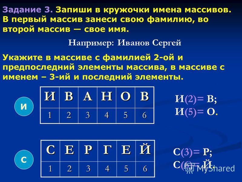 Задание 3. Запиши в кружочки имена массивов. В первый массив занеси свою фамилию, во второй массив свое имя. И ИВАНОВ 123456 СЕРГЕЙ123456 С Например: Иванов Сергей И(2)= В; И(5)= О. С(3)= Р; С(6)= Й. Укажите в массиве с фамилией 2-ой и предпоследний