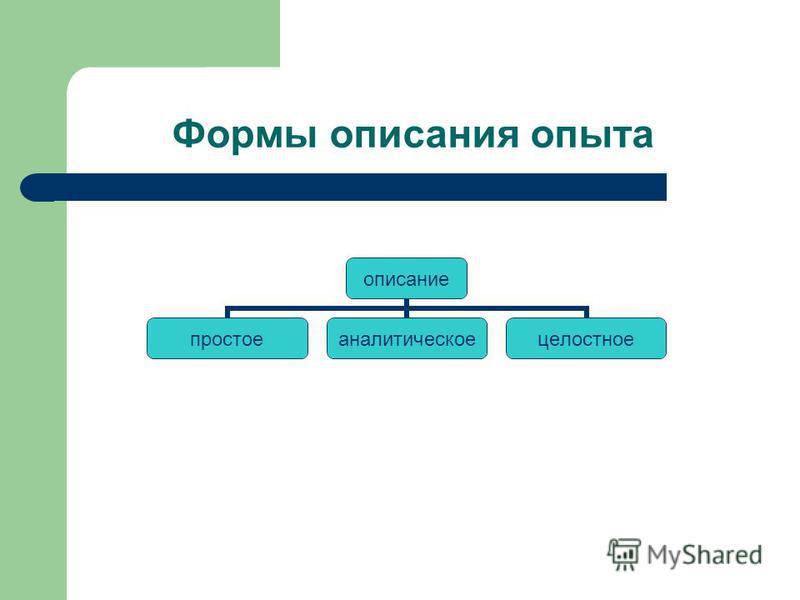 Формы описания опыта описание простое аналитическое целостное