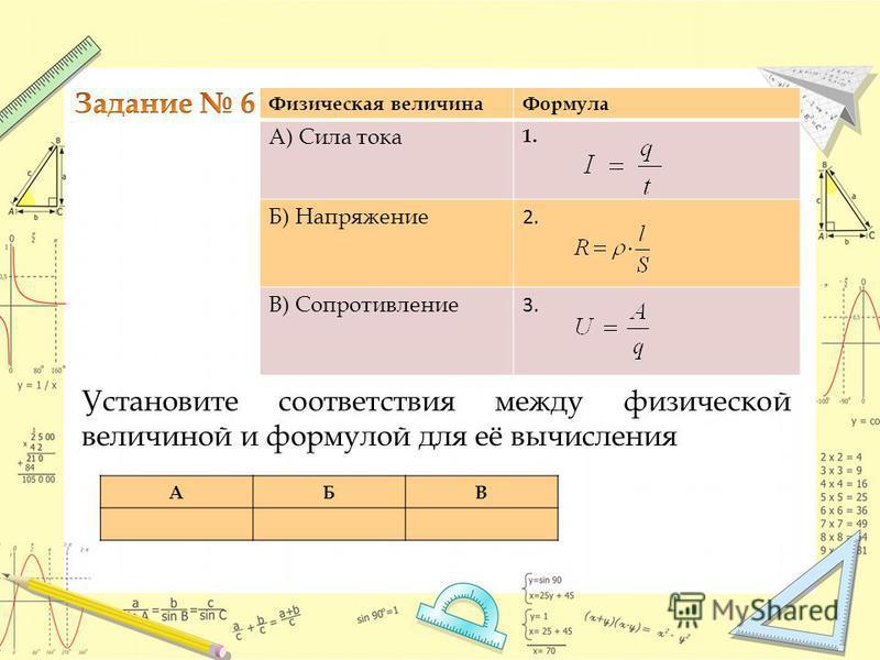 Физическая величина Формула А) Сила тока 1. Б) Напряжение 2. В) Сопротивление 3. Установите соответствия между физической величиной и формулой для её вычисления АБВ