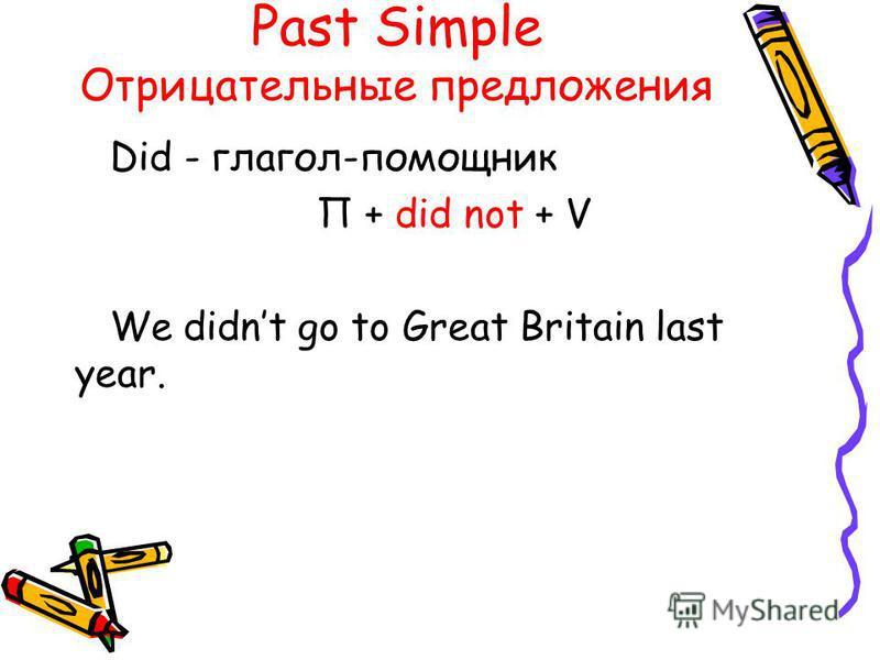 Past Simple Отрицательные предложения Did - глагол-помощник П + did not + V We didnt go to Great Britain last year.