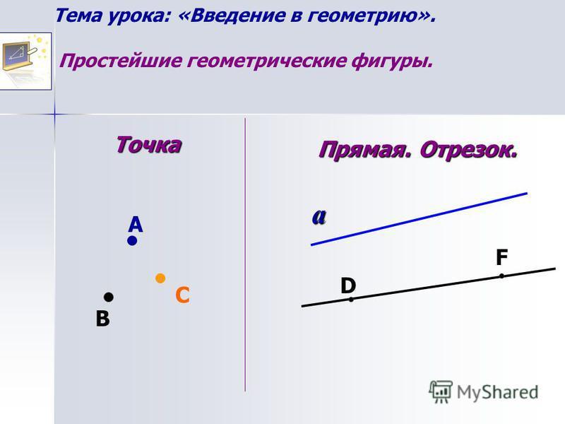 Тема урока: «Введение в геометрию». Простейшие геометрические фигуры.Точка Прямая. Отрезок. A B C a D F