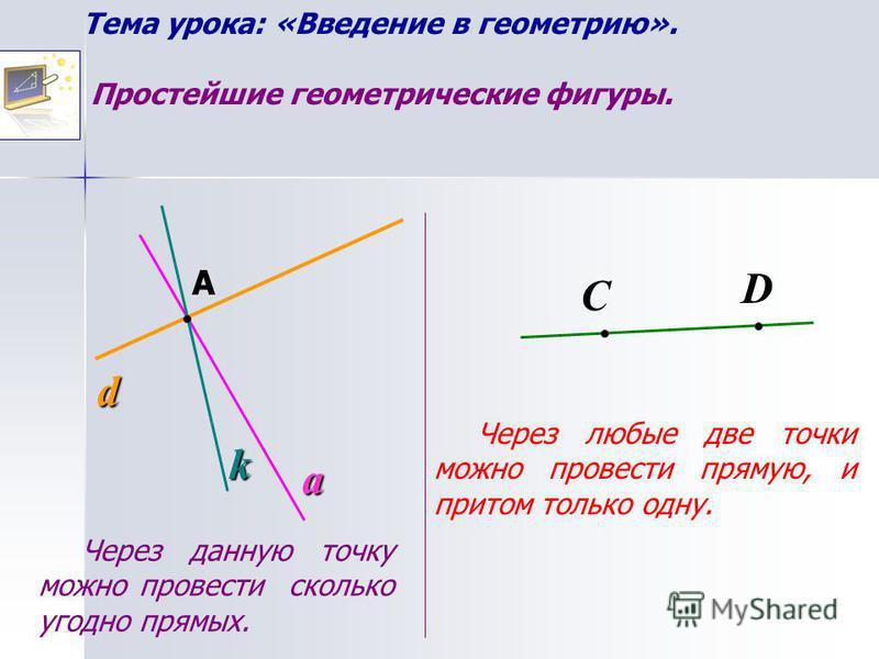 Тема урока: «Введение в геометрию». Простейшие геометрические фигуры.С d a А k Через данную точку можно провести сколько угодно прямых. D Через любые две точки можно провести прямую, и притом только одну.