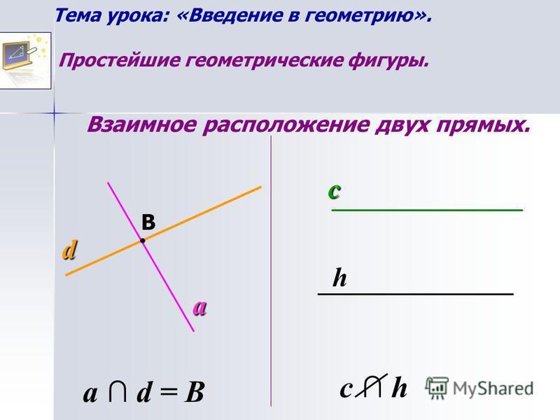 Тема урока: «Введение в геометрию». Простейшие геометрические фигуры. Взаимное расположение двух прямых. c h d a B a d = B c h