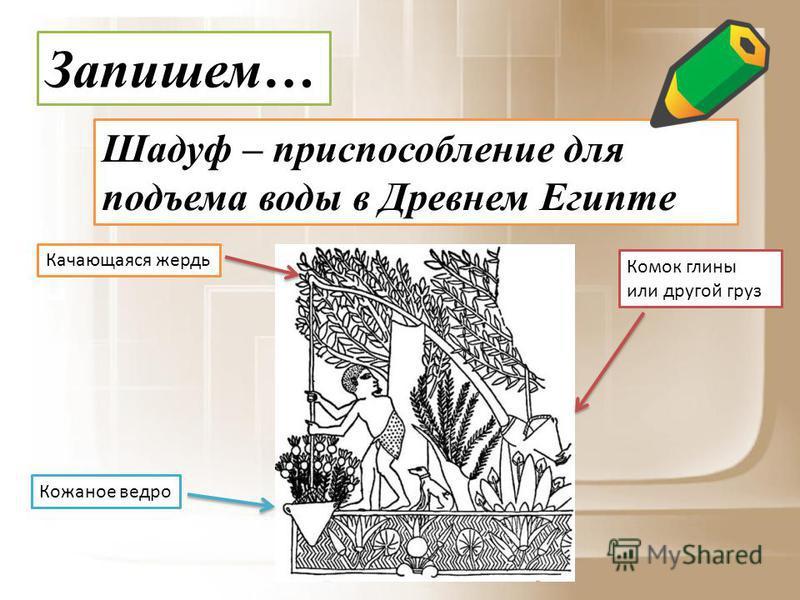 Запишем… Шадуф – приспособление для подъема воды в Древнем Египте Кожаное ведро Качающаяся жердь Комок глины или другой груз