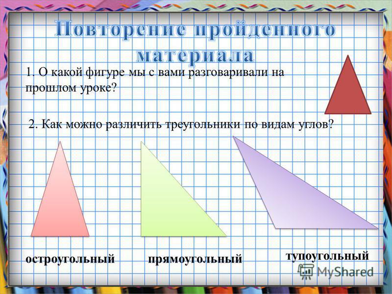 Заголовок слайда 1. О какой фигуре мы с вами разговаривали на прошлом уроке? 2. Как можно различить треугольники по видам углов? остроугольный прямоугольный тупоугольный