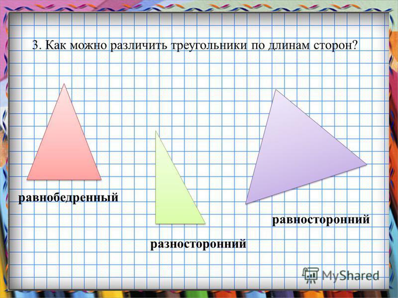 Заголовок слайда 3. Как можно различить треугольники по длинам сторон? равнобедренный разносторонний равносторонний
