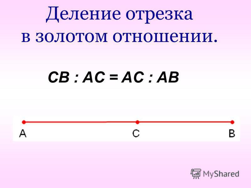 Деление отрезка в золотом отношении. CB : AC = AC : AB