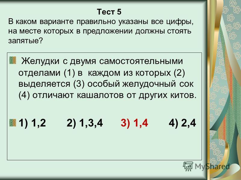Тест 5 В каком варианте правильно указаны все цифры, на месте которых в предложении должны стоять запятые? Желудки с двумя самостоятельными отделами (1) в каждом из которых (2) выделяется (3) особый желудочный сок (4) отличают кашалотов от других кит