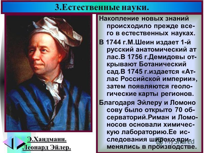 Меню 3. Естественные науки. Накопление новых знаний происходило прежде все- го в естественных науках. В 1744 г.М.Шеин издает 1-й русский анатомический ат лас.В 1756 г.Демидовы открывают Ботанический сад.В 1745 г.издается «Ат- лас Российской империи»,