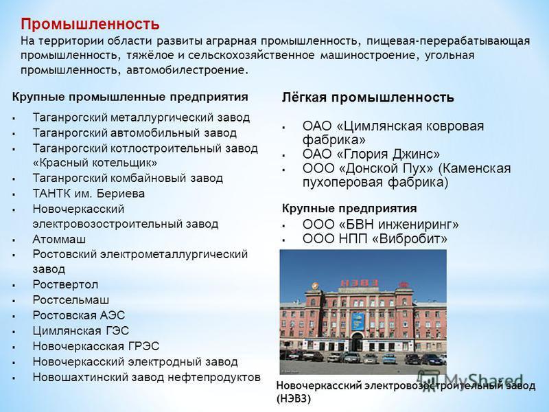 Промышленность На территории области развиты аграрная промышленность, пищевая-перерабатывающая промышленность, тяжёлое и сельскохозяйственное машиностроение, угольная промышленность, автомобилестроение. Крупные промышленные предприятия Таганрогский м
