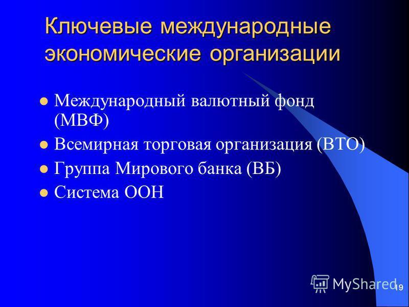19 Ключевые международные экономические организации Международный валютный фонд (МВФ) Всемирная торговая организация (ВТО) Группа Мирового банка (ВБ) Система ООН
