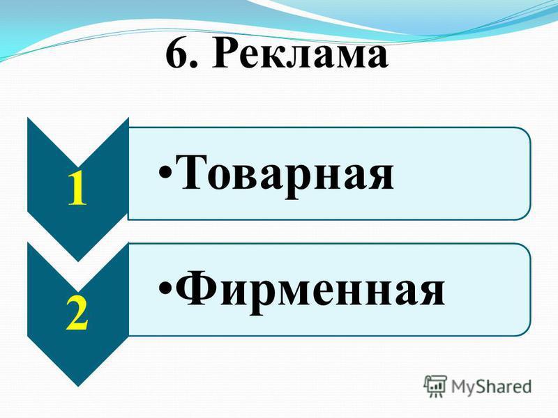 6. Реклама 1 Товарная 2 Фирменная
