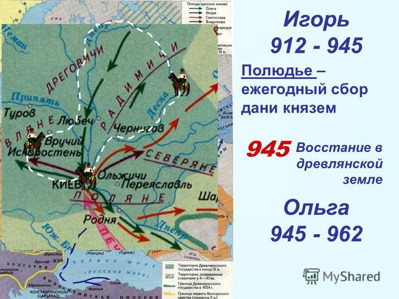 Игорь 912 - 945 Полюдье – ежегодный сбор дани князем 945 Восстание в древлянской земле Ольга 945 - 962