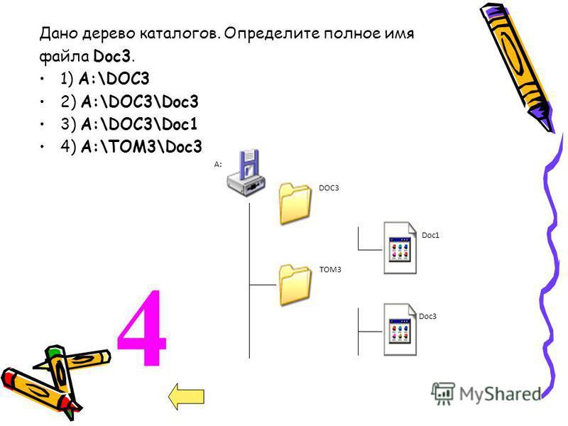 4 Дано дерево каталогов. Определите полное имя файла Doc3. 1) A:\DOC3 2) A:\DOC3\Doc3 3) A:\DOC3\Doc1 4) A:\TOM3\Doc3 A:\ DOC3 Doc1 ТOM3 Doc3